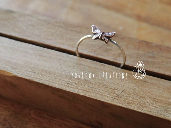 Butterfly ring 925 Sterling silver and bronze ring. by BoneFox