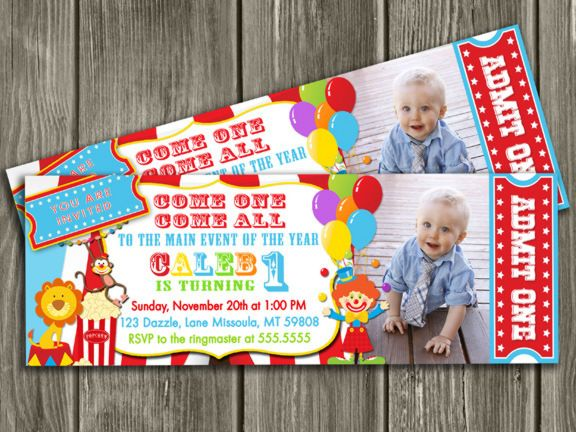 Printable Circus Ticket Birthday Photo Invitation | Carnival Invite | Kids Birthday Party Idea | Clown | FREE Thank You Card Included | Party Package Decorations Available | www.dazzleexpressions.com
