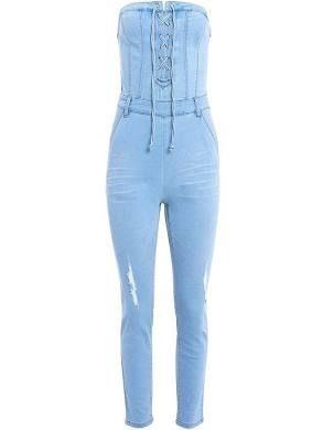 6db540309e9e Venus Women s Plus Size Lace Up Denim Jumpsuit Jumpsuits   Rompers ...