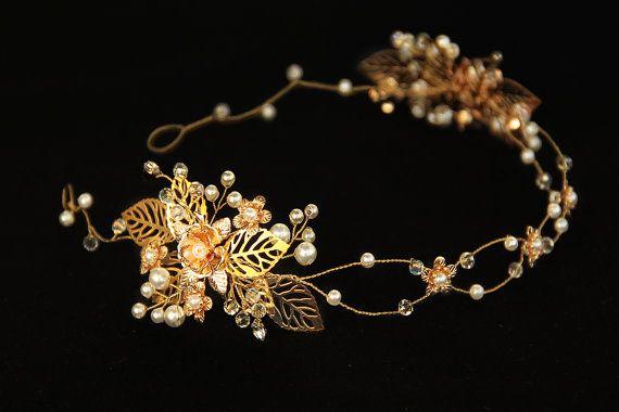or strass fleur et les feuilles avec des perles et cristaux, serre-tête diadème