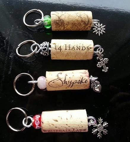 Snow Flake Wine Cork Keychain - Click to order