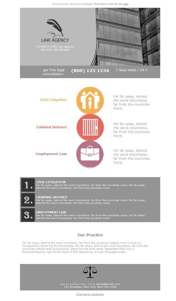 Mejores 12 imágenes de Servicios Legales - Plantillas newsletter ...