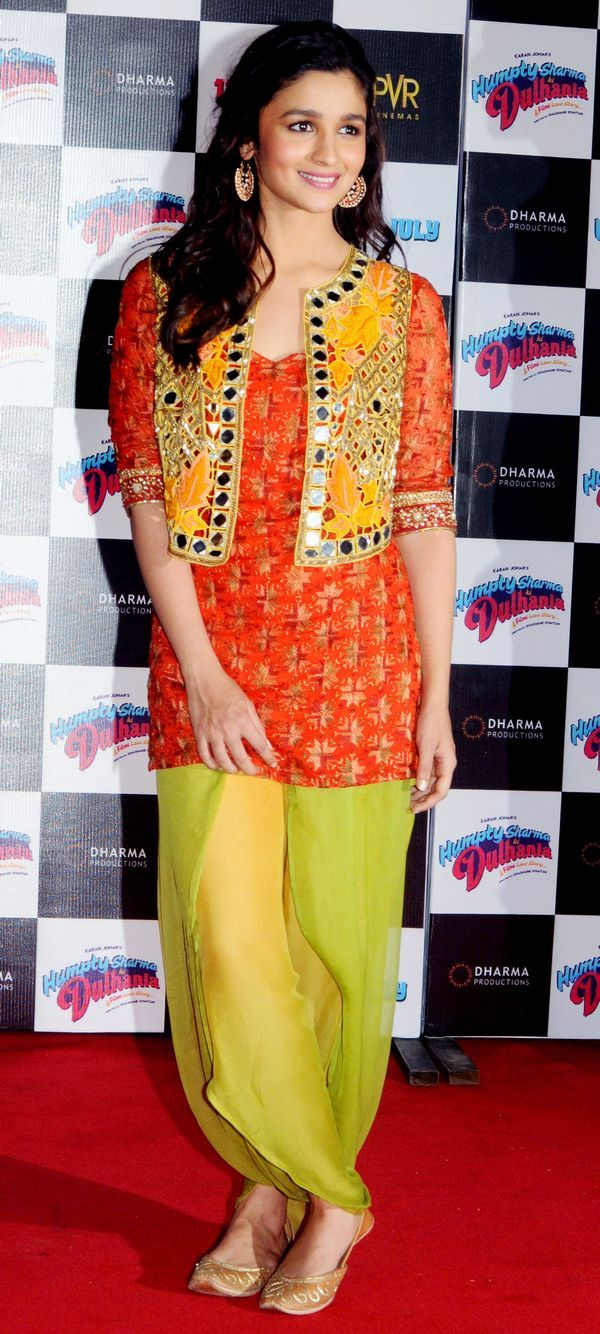 Alia Bhatt wearing a brightly coloured Indian outfit at trailer launch of Humpty Sharma ki Dulhaniya. #Style #Bollywood #Fashion #Beauty