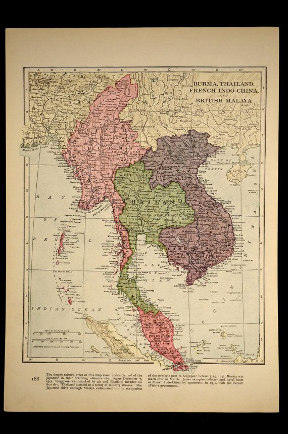 Political Map Of Southeast Asia%0A Antique Map Thailand Southeast Asia Burma by VintageBooksPaper