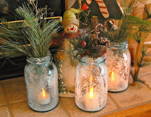 Christmas Centrepiece Use Mason Jars Already Have Snow