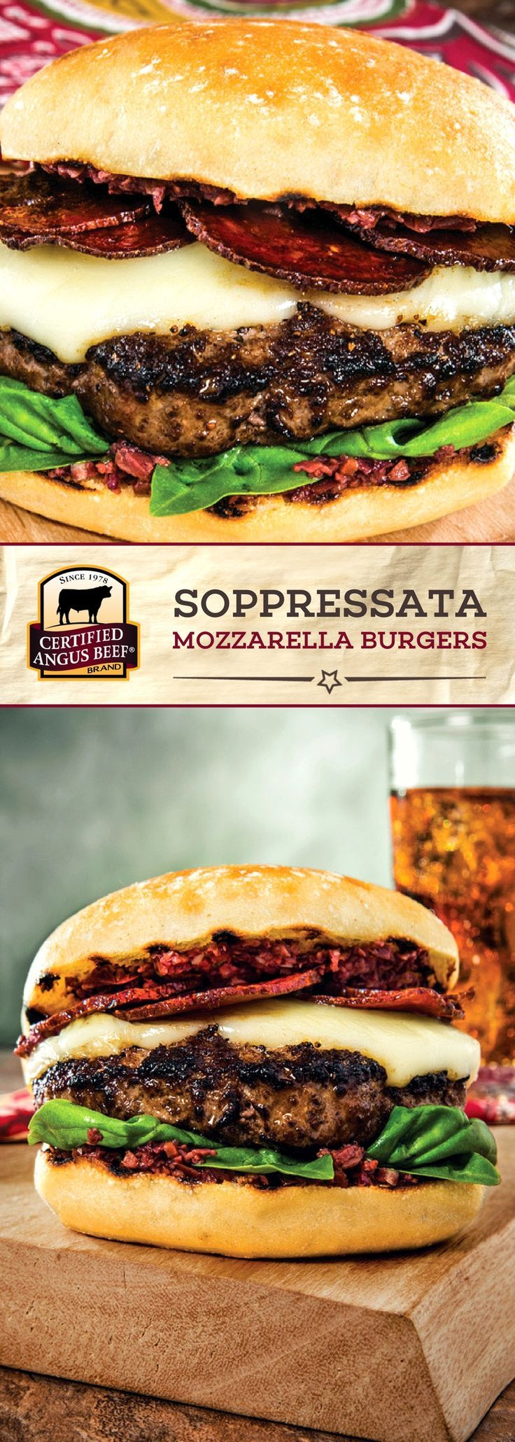 Certified Angus Beef®️️️ brand Soppressata Mozzarella Burgers are a real treat! The BEST, perfectly seasoned ground chuck is topped with mozzarella, thinly sliced soppressata, and Kalamata olives for a DELICIOUS burger recipe! #bestangusbeef #certifiedangusbeef #beefrecipe #burgerrecipe