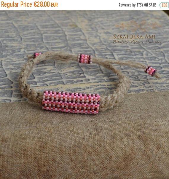 ON SALE Natural Linen men bracelet Ethnic bracelets Purple #seedbeads #mensbracelets #szkatulkaami