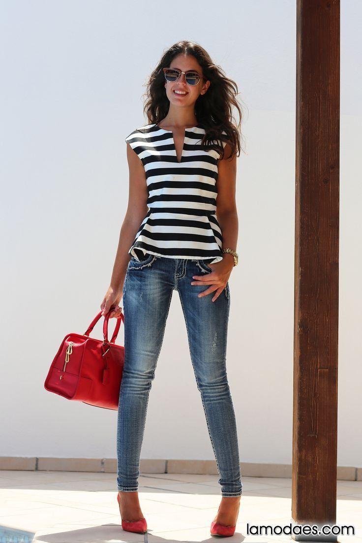 Blusas rayadas, Blusas con Lineas, te mostramos Como debes combinarlas correctamente para cada ocacion.… - #blouse