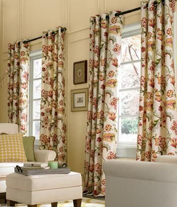 Jacobean Floral Lined Grommet Top Curtains For Dining Room