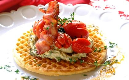 Waffles with Herbed Marscapone, Tomato and Bacon