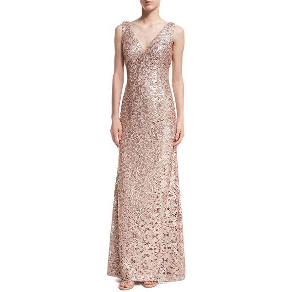 Aidan By Aidan Mattox Sleeveless V-Neck Sequin Lace Gown ($295 ...