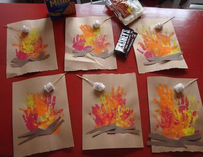 The Playful Garden- Handprint S'mores (my kids are too old for this now, but could use chalks or oil pastels and do a lesson on how to draw a fire)