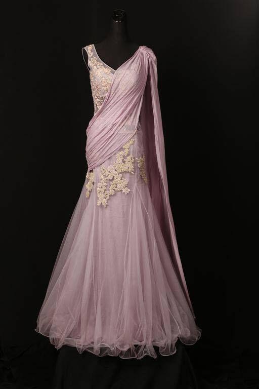 Lavender Sari lehenga gown