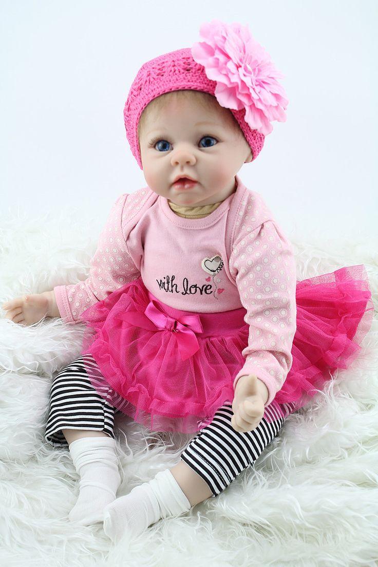 Pas cher 22 polegada 55 cm Silicone bébé reborn poupées, Réaliste poupée reborn bébés jouets pour fille rose princesse cadeau brinquedos pour childs, Acheter  Poupées de qualité directement des fournisseurs de Chine:    22 pouces 55 cm silicone bébé Reborn poupées, réaliste poupée Reborn bébés jouets pour fille rose princesse cadeau B