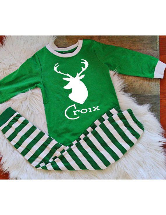 Kids Christmas Pajamas-Personalized Pajama set by croixandgrace