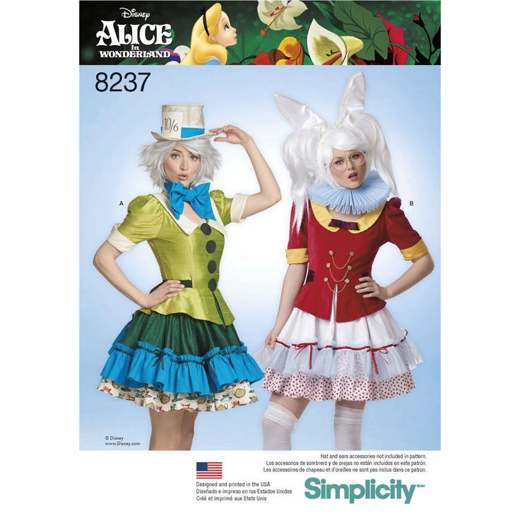 This must-have costume dress pattern features cosplay costumes for two Disney favorites: the Mad Hatter and the White Rabbit from Alice in Wonderland. Pattern also includes bow tie and neck ruffles. Disney for Simplicity sewing patterns.