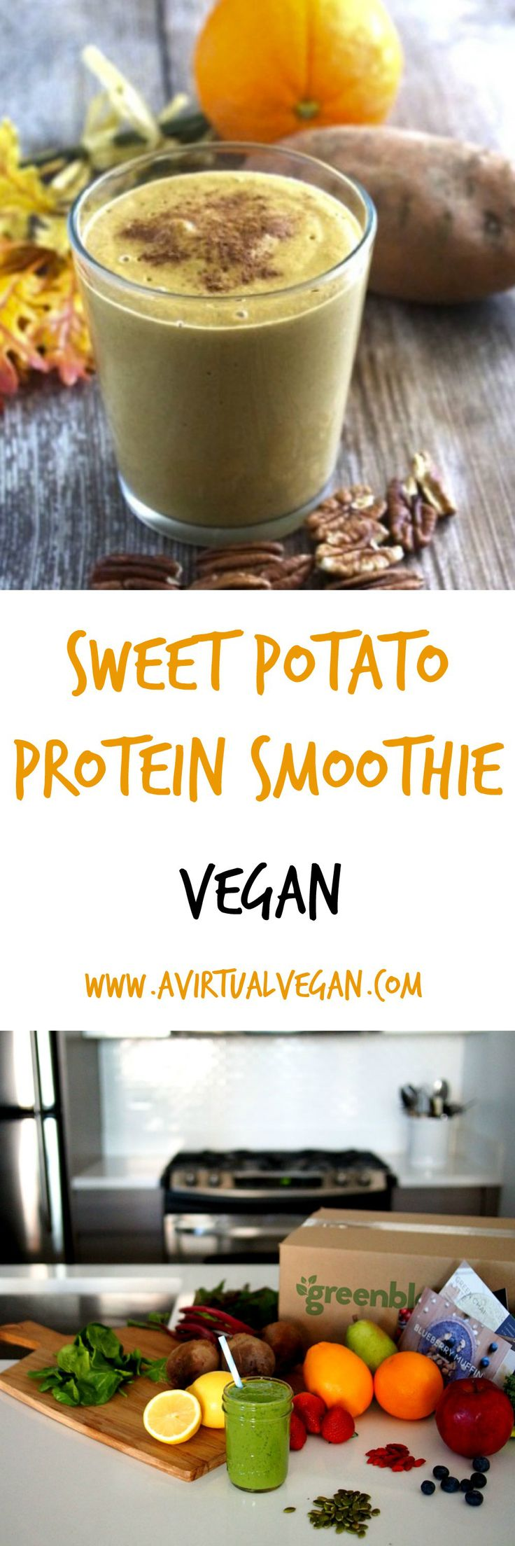 A great pre-workout smoothie! In addition to being an excellent source of beta-carotene, vitamin C, and fiber, sweet potatoes are made up of complex carbs, which provide the perfect source of energy. Pea protein is gaining prominence among athletes for its digestibility and for being a good source of arginine, a muscle-building amino acid. Add in some almond milk for calcium and some pecans for a hit of good fat, and you've got an all natural energy drink designed to give you an A+ workout.