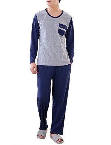 Aibrou Pyjama Homme Hiver Coton Ensemble Pyjamas Chauds Homme Manche Longue Col Rond Ensemble de Literie Deux Parties Bleu/ Gris #Aibrou #Pyjama #Homme #Hiver #Coton #Ensemble #Pyjamas #Chauds #Manche #Longue #Rond #Literie #Deux #Parties #Bleu/ #Gris