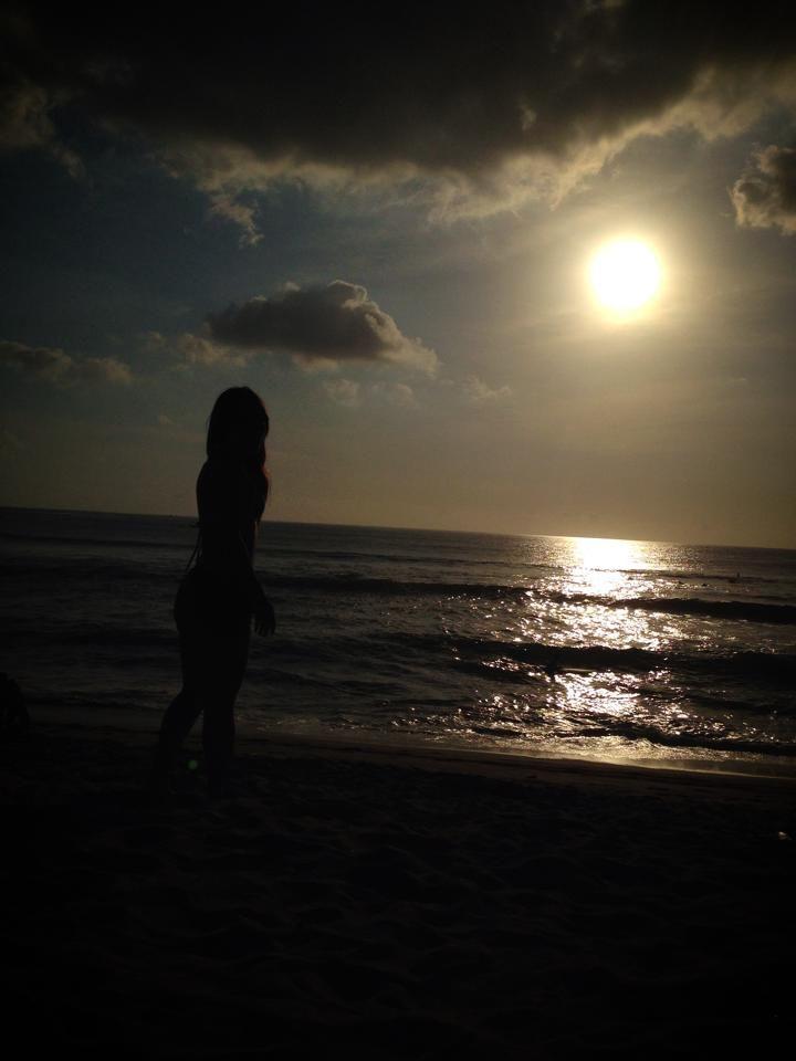 She was first time in Bali, in Kuta beach.