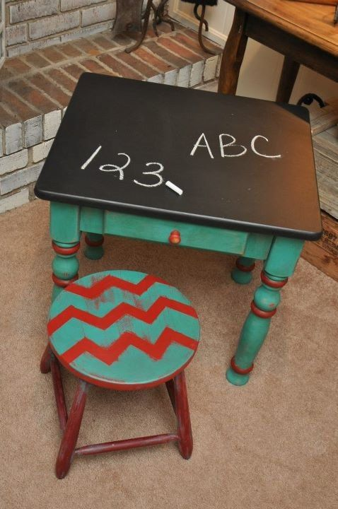 Child's Chalkboard Table with Matching Stool