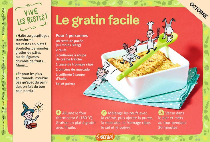 Le gratin facile : une recette pour les enfants de 7 à 11 ans avec de la purée, des œufs, de la crème et du fromage (extrait du magazine Astrapi n°856)