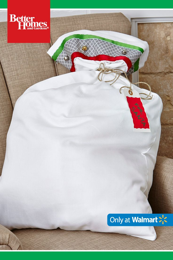 "Gift hack: Use a pillow case to create ""Santa's bag"" and fill with goodies to deliver to family and friends. (1) Attach fabric, ribbons and bells to a white pillowcase. (2) Create a ""For Santa"" tag with construction paper. (3) Use twine to tie bag closed. (4) Loop the tag on the end of the twine. Created by: @todayscreative"