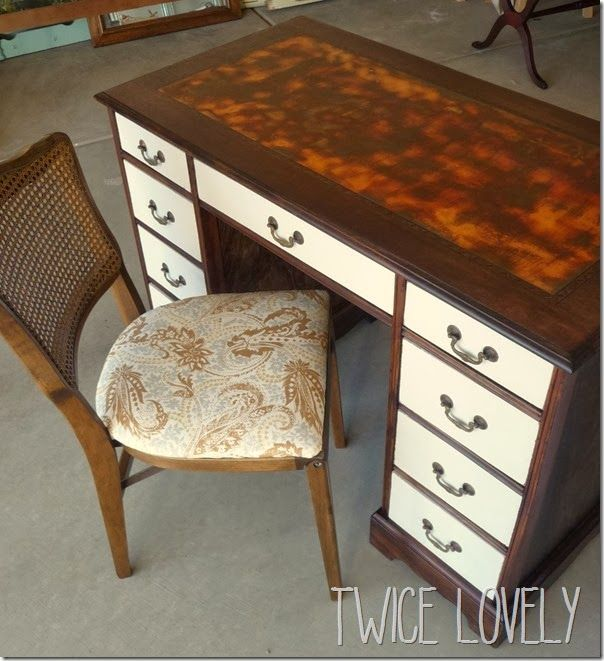 A Beautiful Desk Refinished With Modern Masters Metal Effects Iron Reactive Paint And Rust