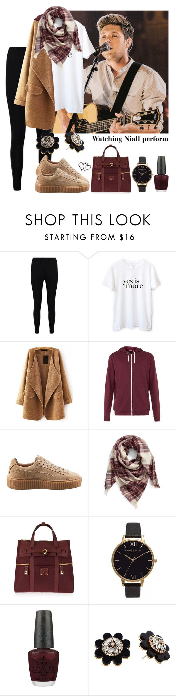"""""""Watching Niall Horan perform"""" by tonioverthetop ❤ liked on Polyvore featuring Boohoo, Sincerely, Jules, Topman, Puma, BP., Henri Bendel, Olivia Burton, OPI and Kate Spade"""