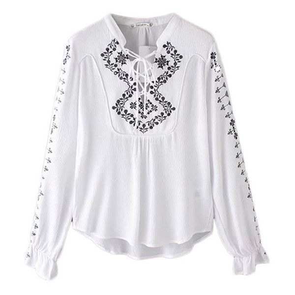 Hidden Plain Long Sleeve Embroidered Blouse (£17) ❤ liked on Polyvore featuring tops, blouses, white, embroidered top, bohemian blouse, white top, embroidery blouse and white long sleeve top