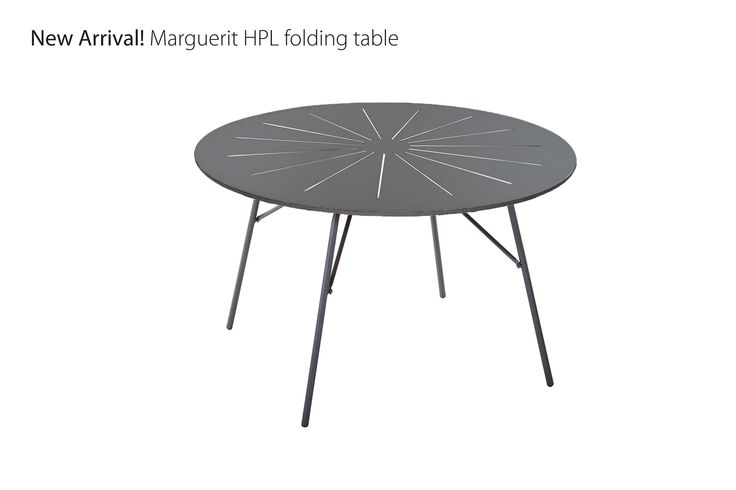 Marguerit folding table with High Pressure Laminate and powder coated aluminum frame.  Design by Mandalay Denmark Please visit www.mandalay.dk