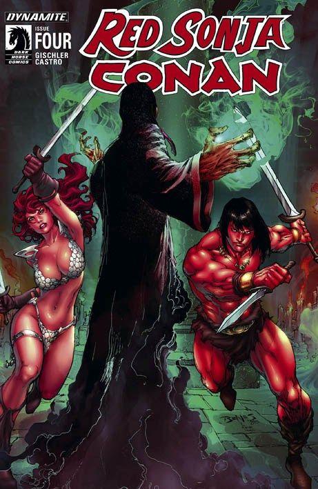 """""""Red Sonja e Conan 4"""" (2015) Cover di Ed Benes #DynamiteComics #RobertoCastro #RedSonja #Conan #VictorGischler"""