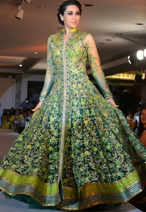 Karishma Kapoor in Green Anarkali
