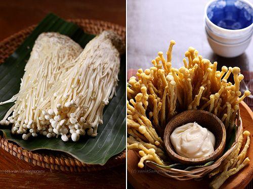 Deep fried crispy enoki mushroom
