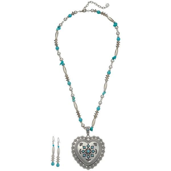 M&F Western Heart Charm Necklace/Earrings Set (Silver/Turquoise)... ($15) ❤ liked on Polyvore featuring jewelry, multi, charm jewelry, turquoise heart pendant, silver heart pendant, silver turquoise jewelry and western turquoise jewelry