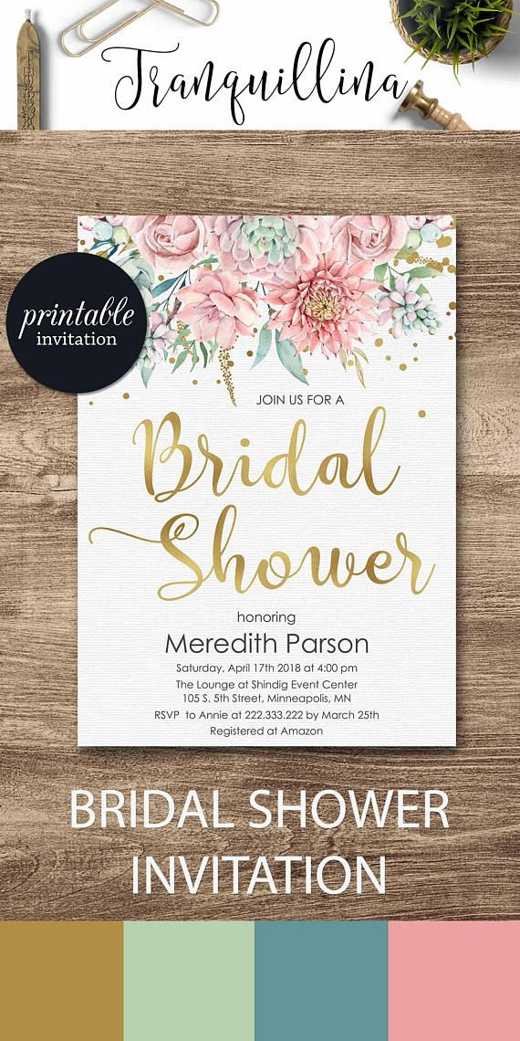 bridal shower themes for spring%0A Floral bridal shower Invitation Gold Pink bridal shower invitations  Spring  summer bridal shower ideas