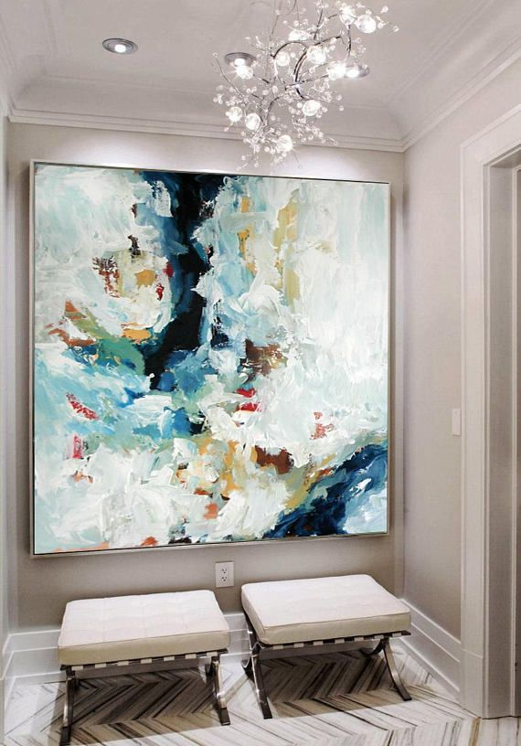 LARGE ORIGINAL Hand Painted Painting, Abstract Art, Acrylic Painting on Canvas, XL large Canvas Art. Custom Extra Large Painting Green, Blue