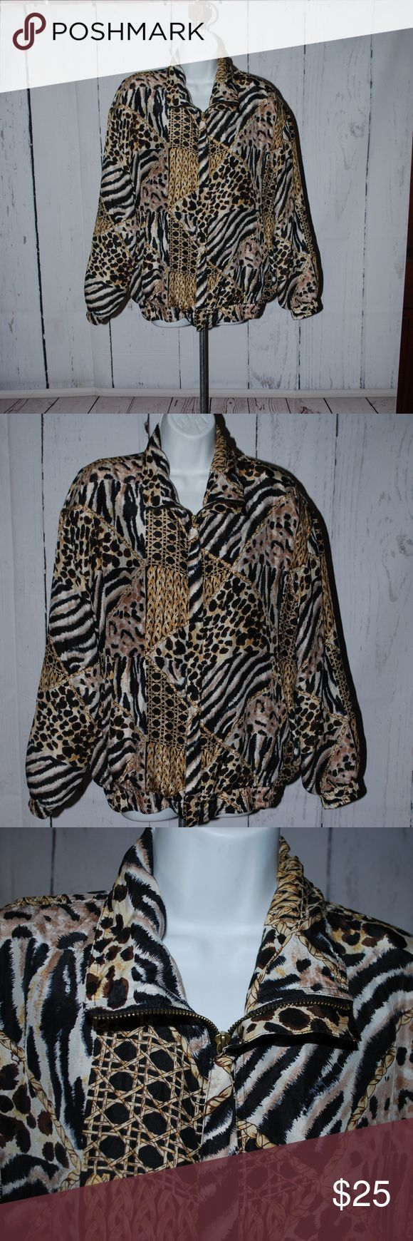Vintage 90's bomber jacket 100% silk animal print Vintage 90's bomber jacket 100% silk animal print zip up front complete with classic shoulder pads smoke free home excellent clean condition CoACo Jackets & Coats