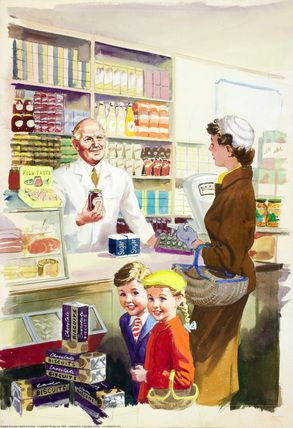 Inside grocer's - Shopping with Mother - Ladybird Books 1958