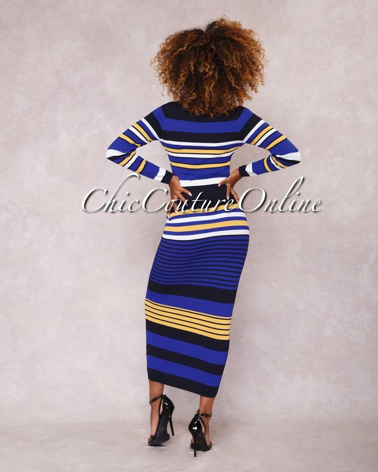 Chic Couture Online - Solera Royal-Blue Multi-Color Stripes Two Piece Set,  (http://www.chiccoutureonline.com/solera-royal-blue-multi-color-stripes-two-piece-set/)