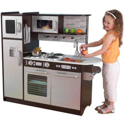 Kids Pretend Toy Play Modern Childrens Kitchen Set With Microwave And Phone