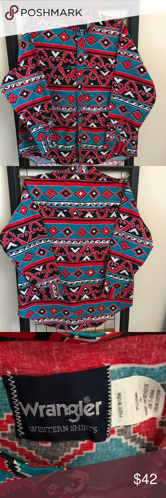 Wrangler Western Shirt for the Native American  XL Unusual Wrangler Shirt, beautiful ethnic Native American design after the old photos of Navajo Silversmiths. Size XL Bought new, then laundered and steam ironed.? Wrangler Shirts Casual Button Down Shirts