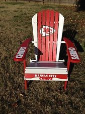 HAND PAINTED KANSAS CITY CHIEFS FOLDING ADIRONDACK CHAIR NFL FOOTBALL TAILGATING