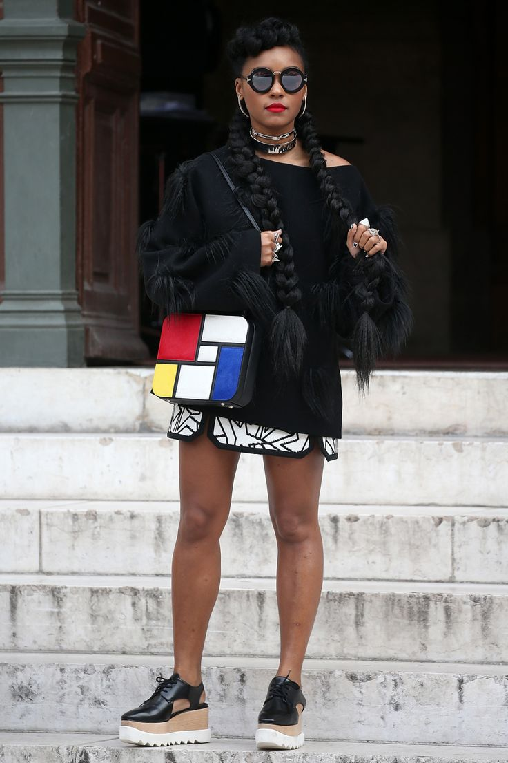 GET THE LOOK: Janelle Monae's Bold Colorblock Outfit at Paris Fashion Week
