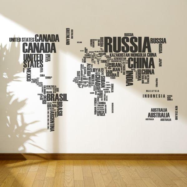 Vinilo decorativo de un mapa del mundo hecho con nombres de ciudades. Masquevinilo.com