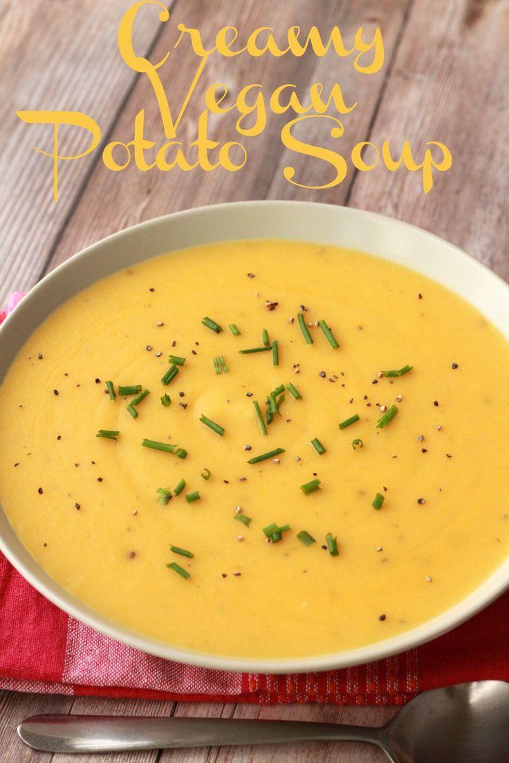 Creamy vegan potato soup! So hearty and satisfying you can have it as an entree! #vegan #lovingitvegan #soup #glutenfree #potatosoup