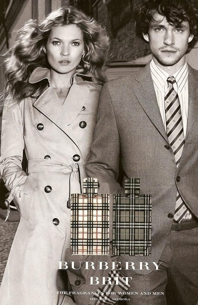 Brit by Burberry, print ad with Kate Moss and Hugh Dancy
