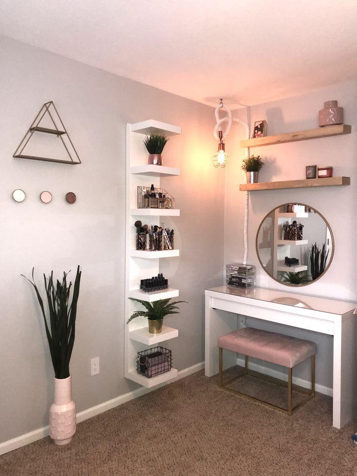 Vanity makeup vanity makeup space pink bench MALM …