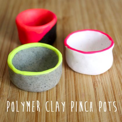 Polymer Clay Pinch Pots with Neon Accents << so cute and so easy to make! Now all i need is neon clay...