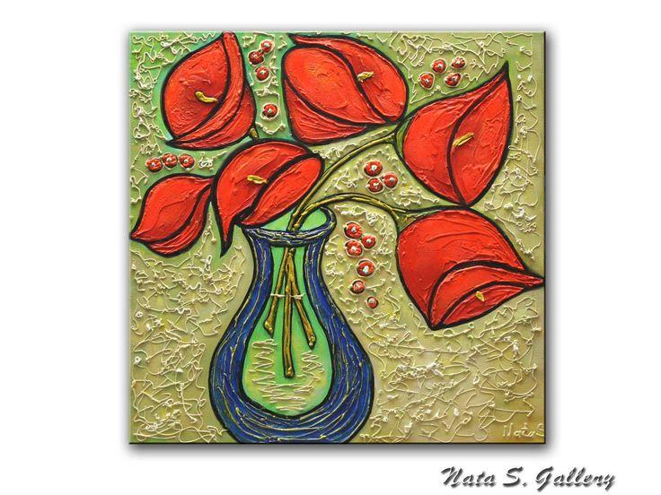 Decora il tuo soggiorno con la mia pittura astratta originale pesante relativo alla trama rosso Calla Lilies. Grande opera darte dipinta a mano. Titolo: Calla Lilies Dimensioni: 20 x 20 x 1,5(51 x 51 x 4 cm) MEDIO: acrilico. Supporti misti. TELA: 1.5 Galleria Wrapped tela, i lati verniciati in nero. Una mano finale di vernice di alta qualità è stata applicata per proteggere la superficie di questo dipinto. FIRMA: Un certificato di autenticità firmato sarà incluso con la pittura. S...