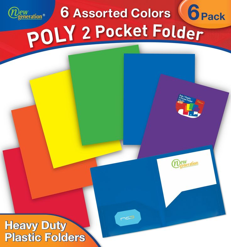 New Generation - 6 PACK 2 Pocket Poly / Plastic Folder , 6 Fashion Primary Colors (Assorted)
